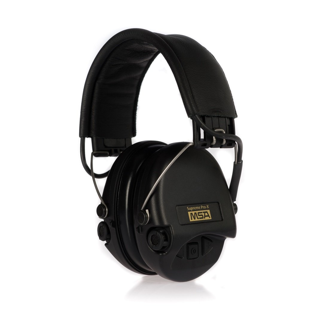 MSA Sordin Supreme Pro X - Standard Edition - Electronic Earmuff with black leather band, black cups and foam seals fitted by MSA Sordin