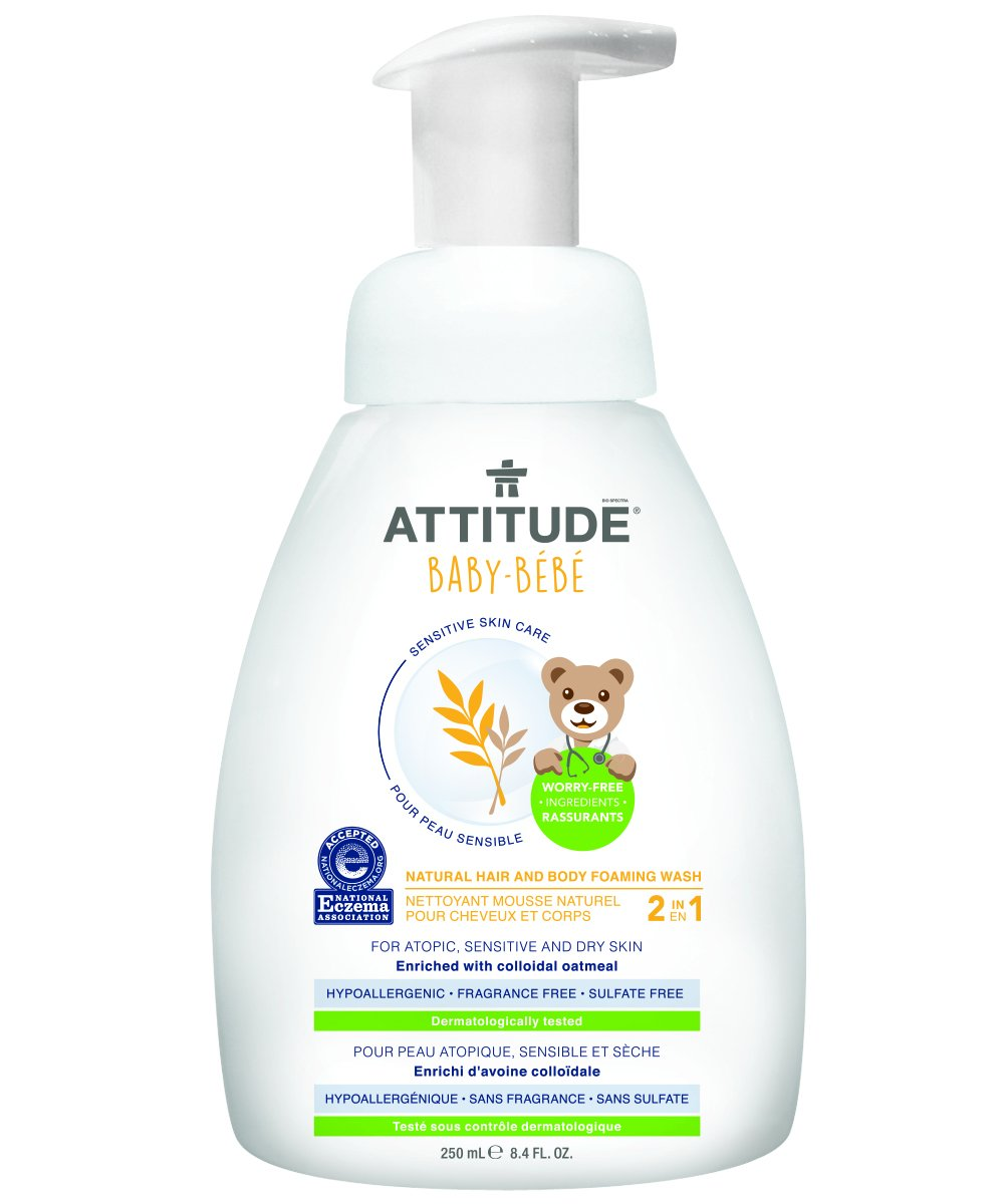 Attitude 2-in-1 Natural Hair and Body Foaming Wash Baby, Fragrance Free, 8.4 Fluid Ounce