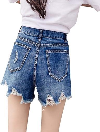 Estiramiento De Las Mujeres Cintura Alta Jeans Sueltos Pantalones Cortos Especial Estilo Para Mujer Pantalones Vaqueros Pantalones De Verano Pantalones Vaqueros De Pierna Pantalones Amazon Es Ropa Y Accesorios