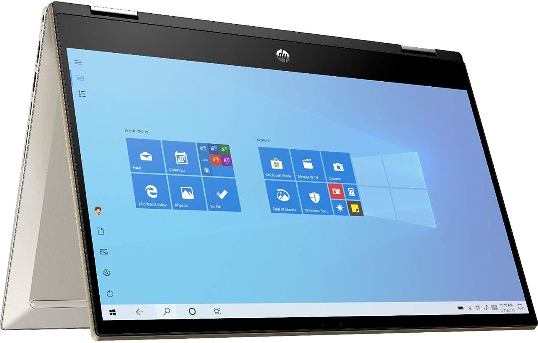 2021 HP Pavilion X360 14 Inch FHD 1080P Touchscreen 2-in-1 Laptop  Intel Core i5-1035G1 (Beats i7-7500U)  Backlit KB  16GB RAM  512GB SSD  FP Reader  Win10  Gold + NexiGo Bundle