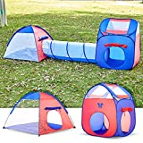 Unicorn Kids Play Tent with Tunnel - 3-in-1 Playhut Hours of Indoor Outdoor Fun Popup X-Large Ball Pit for Children (Red and Blue)