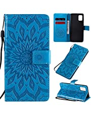 """Ogmuk Fashion Premium Blue Cute Sunflower Embossing Strap Case for Girly Women Stand Lovely Stylish Kickstand Credit Cards Slot Cash PU Leather Flip Wallet Case for iPhone 11 6.1"""""""