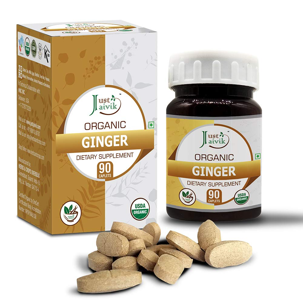 Just Jaivik 100% Organic & Pure Ginger/Sunthi/Dry Adrak Root (Zingiber officinale) Tablets As Dietary Supplements - 750mg (90 Tablets)   For Digestive Wellness   Boosts Immunity   Weight Loss