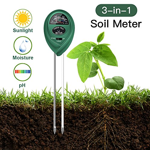 Shuua 3 in 1 Soil Test Kits for PH Acidity, Light and Moisture,Perfect for Home and Garden, Gardening, Lawn, Farm, Plants, Fruit, Flowers,Indoor/Outdoor Plant Care Soil Kits