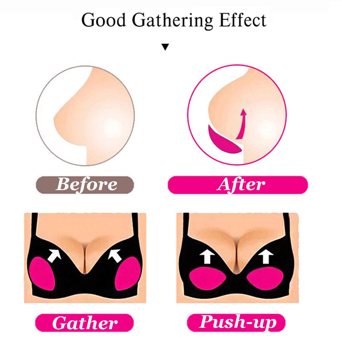Adhesive Bra Inserts Lift Breast Pads Breathable Push Up Sticky Bra Cups for Women Swimsuits /& Bikini with Bra Strap Holders
