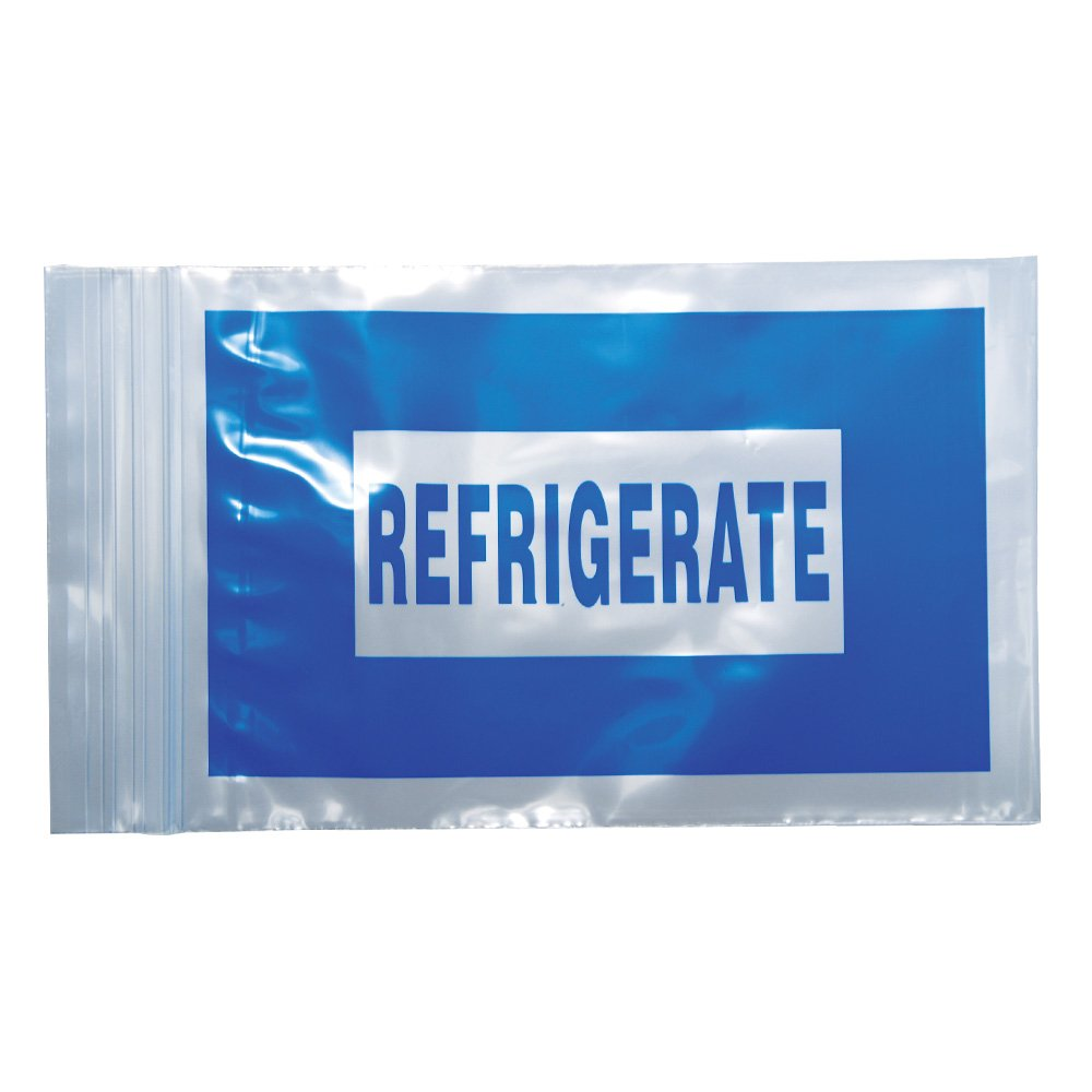 PDC Healthcare RBG002 Clear/Blue Plastic Hospital Bag,Refrigerate, Zip Lock, 2 mil, 4'' x 6'' (Pack of 1000)