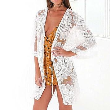 Cárdigan Floral Playa Mujer, LILICAT® Bikini Cover Up Elegante Encaje Crochet de Manga 1