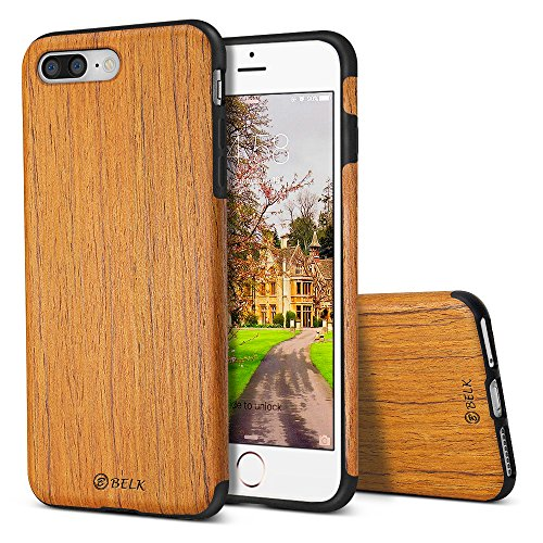 B BELK iPhone 8 Plus Case/iPhone 7 Plus Case, [Air To Beat] Non Slip Soft Wood Slim Bumper, Scratch Resistant Grip Ultra Light TPU Snap Back Cover with Rubber Corner for Apple iPhone 8 Plus/7 Plus by B BELK