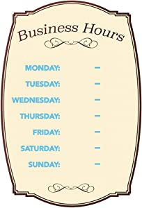 Business Hours Boutique Sign Static Cling Numbers Included 8 x 12 inches (098392)
