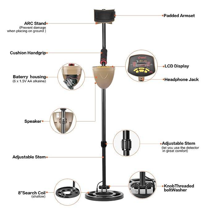 Detector de Metales de 25 cm de alta Precisión y Sensibilidad - Treasure Hunter Buscador de oro Búsqueda de Bobina a Prueba de Agua - Pantalla LCD: ...
