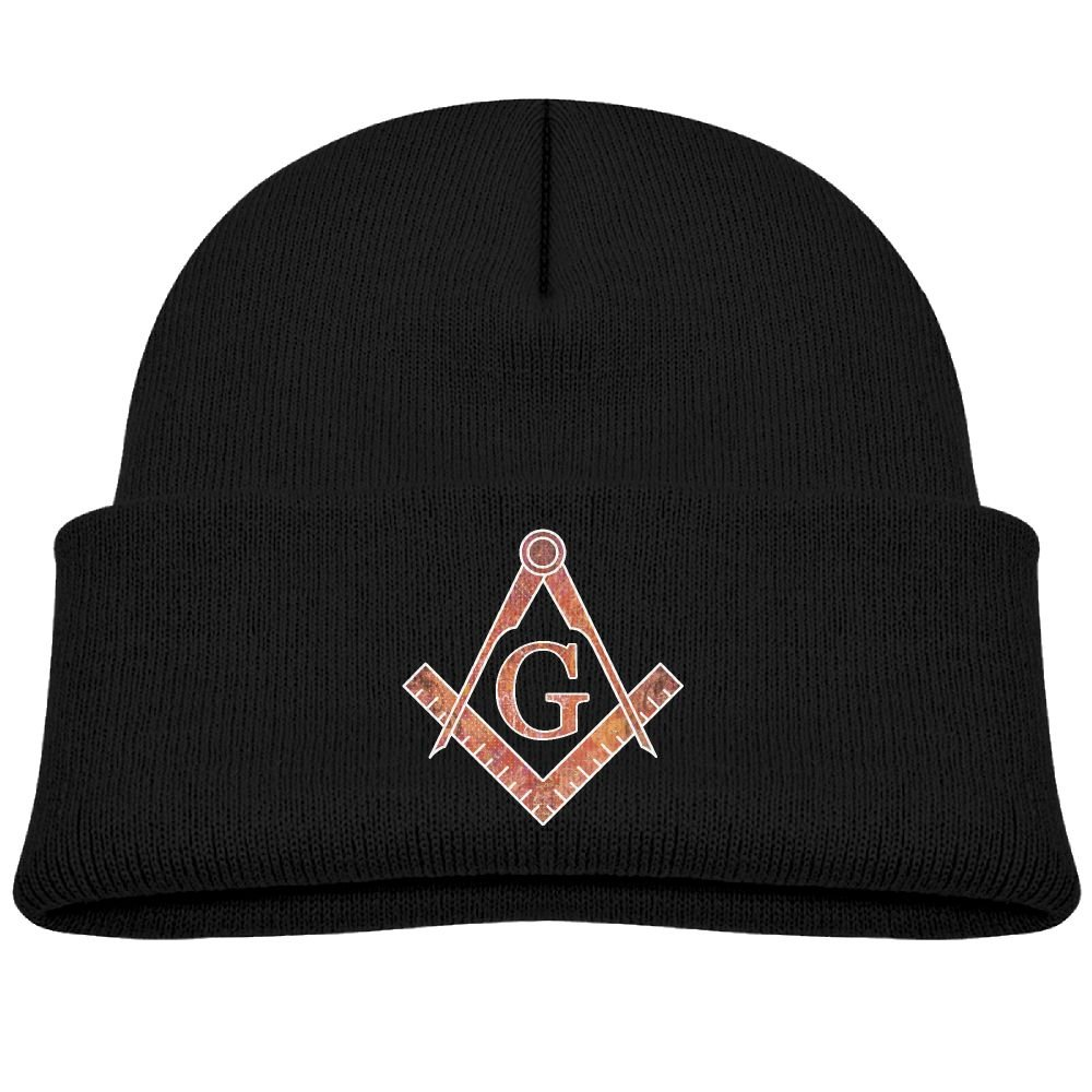 Freemason Graffiti Kids Knit Caps Beanie Unisex For Boys& girls Black