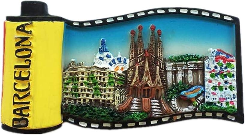 Weekinglo Souvenir Frigorífico Imán Película Barcelona España 3D Resina Artesanía Hecha A Mano Turista Viaje Ciudad Recuerdo Colección Carta Refrigerador Etiqueta: Amazon.es: Hogar