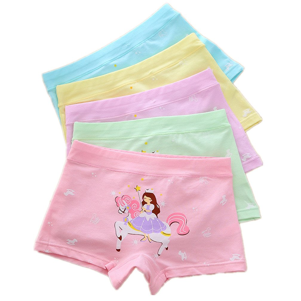 Cczmfeas Girls' Boyshort Hipster Panty Brief Cotton Underwear (Pack of 5) So Aromatherapy