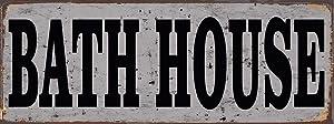 Bath House Vintage Look Rustic Metal Sign Plaque Retro 6x16 Inch Tin Sign
