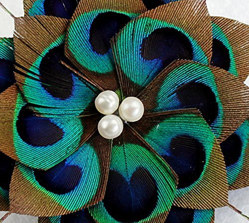 Handmade Feather Peacock Fascinator Hair Clip with Natural Pear … Seven & Nine Service