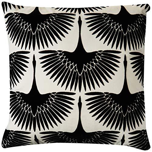 Rivet Modern Velvet Geese Silhouette Decorative Throw Pillow, 17