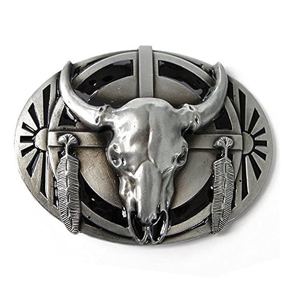 Bull Skull Head Metal Buckle Belt For Men Western Cowboy Long Horn Silver