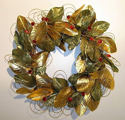JMB Christmas Gold and Gold-Brushed Green Magnolia Leaves Wreath with 1