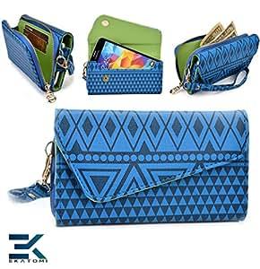 ROYAL BLUE: Woman's Phone Wrislet Cover Case Purse Huawei Ascend G510 Bonus Ekatomi Screen Cleaner