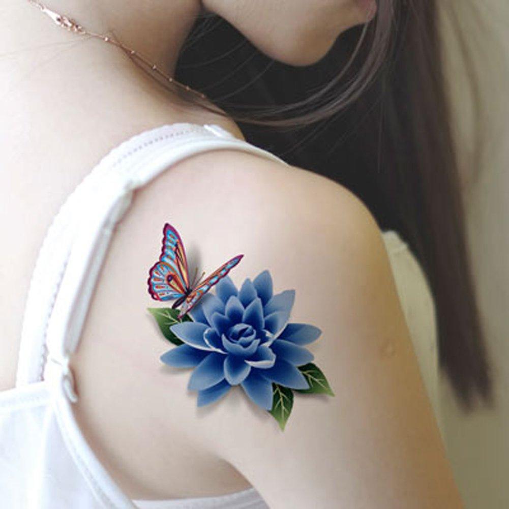 TAFLY Women's Blue Flower 3D Peony Butterfly Lower Back Temporary Tattoos 5 Sheets