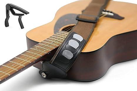 Correa para guitarra con 3 púas y cejilla negra 100% algodón suave ...