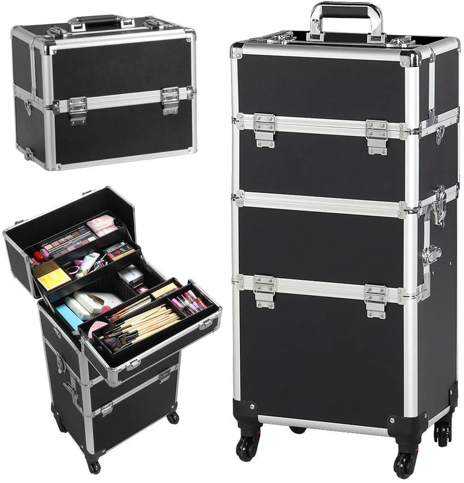 Yaheetech 3 en 1 Maleta de Maquillaje Estuche Cosmetico Maletín Maquillaje Profesional Trolley Beauty Case Negro