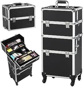Yaheetech 3 en 1 Maleta de Maquillaje Estuche Cosmetico Maletín Maquillaje Profesional Trolley Beauty Case Negro: Amazon.es: Hogar
