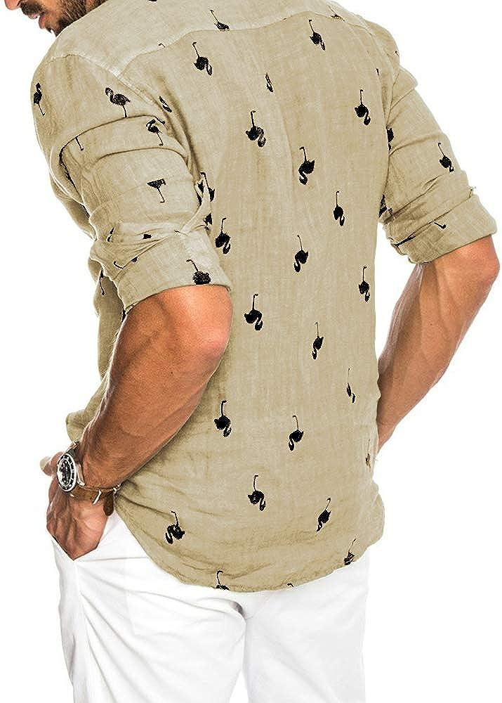 Mens Cotton Linen Long Sleeve Hawaiian Shirts Flamingos Print Tees Button Down Aloha Tropical Tops