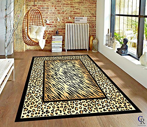 - Champion Rugs Modern Leopard and Tiger Animal Skin Print with Border Area Rug (3' 9
