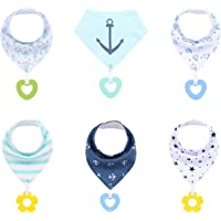 6-Pack Baby Cotton Bandana Bibs with Teething Toys Baby Boy Girl Toddler Bibs for Drooling and Teething Soft Absorbent…