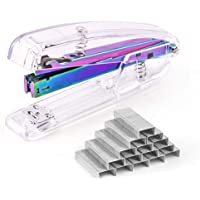 Coopay Clear Acrylic Stapler Purple Desktop Stapler with 2000 Pieces Silvery Staples for Office Desk Accessory(Purple)