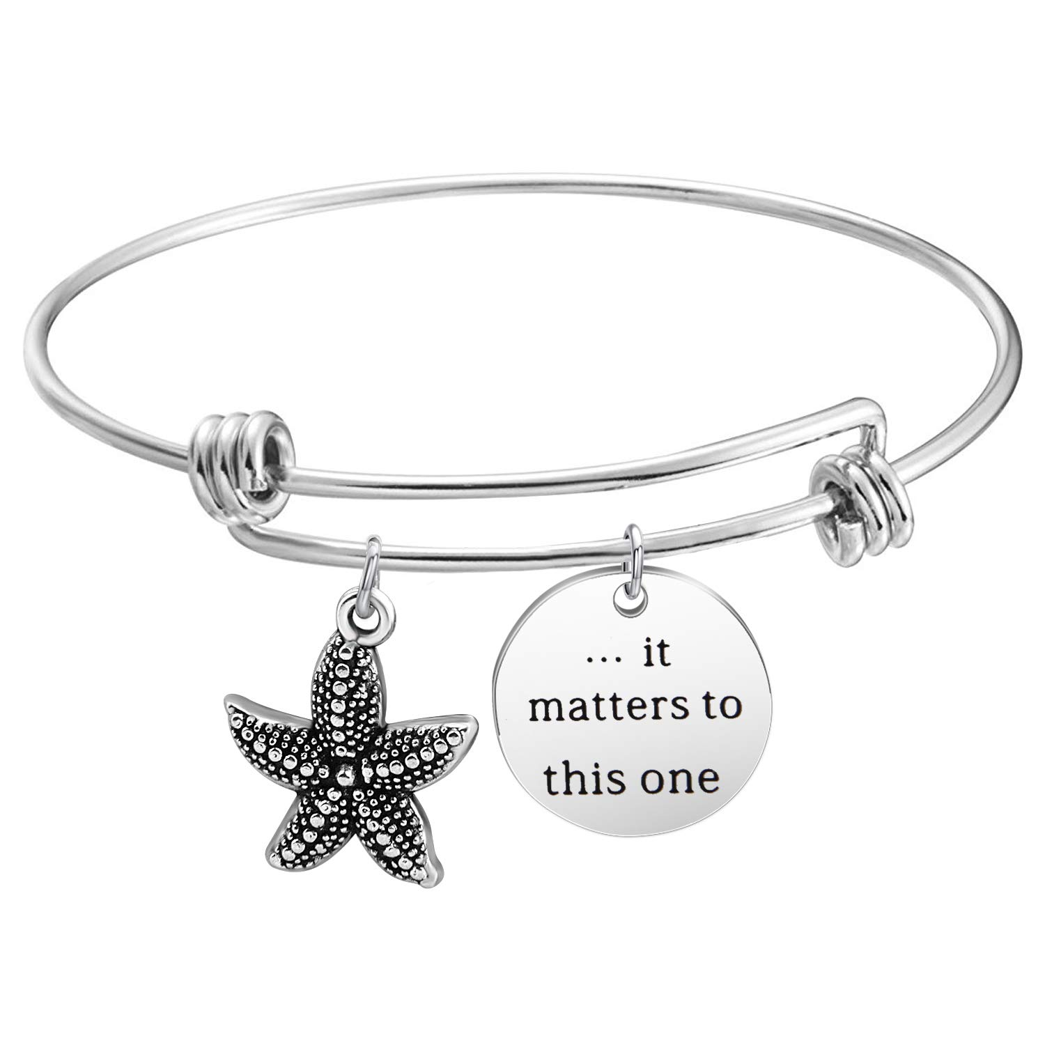 HOLLP Social Worker Gift Adoption Bracelet It Matters To This One Starfish Charm Bracelet Teacher Gift Idea Sea Star Jewelry B07G59JVK2_US