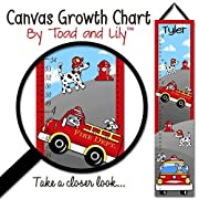 Canvas GROWTH CHART Firetruck Puppy Boys Bedroom Kids Baby Nursery Wall Art GC0090