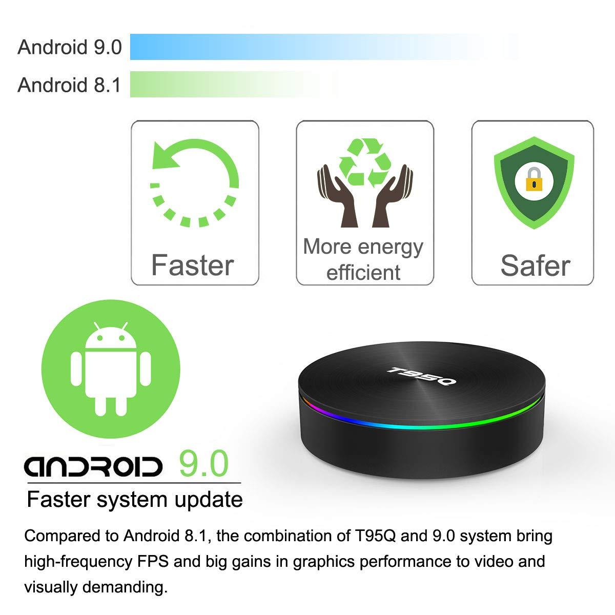 Android TV Box, YAGALA T95Q Android 9 0 TV Box 4GB RAM 32GB ROM Amlogic  S905X2 Quad-core Cortex-A53 Bluetooth 4 1 HDMI 2 1 4K Resolution H 265