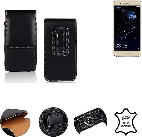 K-S-Trade® Funda para Huawei P10 Lite Dual-SIM, La Bolsa De Cinturón De Cuero De Imitación Color Negro Caso Bolso Cuero Genuino, 1x: Amazon.es: Electrónica