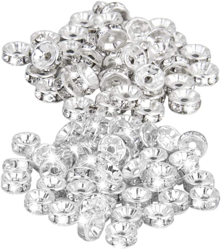 D DOLITY 50 Pares de Plata Chapado de Cristal Checo Espaciador Rondelle Perlas Hallazgos para Joyería Accesorios de Pulsera 8mm Y 6mm