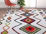 Modern Primitive Diamond Multi Moroccan Tribal Medallion Shag 5 x 7 (5'3″ x 7'3″) Area Rug Plush Modern Bohemian Carpet Review