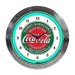 Neonetics Home Indoor Restaurant Kitchen Decorative Coca-Cola Evergreen Neon Wall Clock
