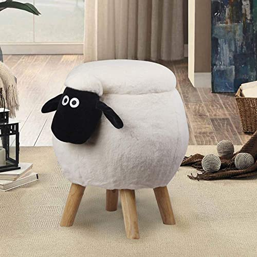 Animal Stool-White Sheep Shauen Ottoman with Storage Footrest Foot Stool, Foot Stand with Wooden Legs, Special for Kids Sitting