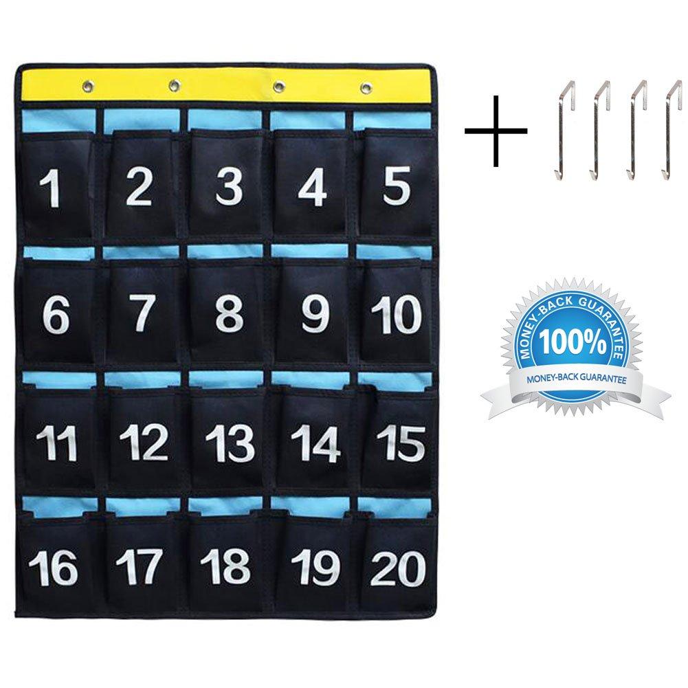 Classroom Cell Phone Pocket Chart School Calculator Organizer 20 Numbered Pockets Blue