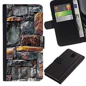 KingStore / Leather Etui en cuir / Samsung Galaxy Note 3 III / Líneas patrón de la pared rústica Oro Gris