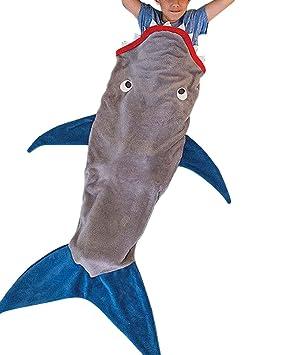 Nemo tiburón manta Kids niños saco de dormir gris y azul oscuro, Franela, Blue