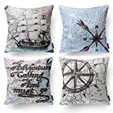 "PHANTOSCOPE Decorative Set of 4 Ocean Series Throw Pillow Cover with Map Compass Geography 18"" x 18"" 45cm x 45cm"