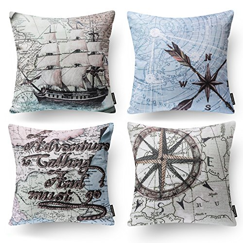 "(Phantoscope Set of 4 Ocean Series Background Map Compass Geography Decorative Throw Pillow Case Cushion Cover 18"" x 18"" 45cm x 45cm)"