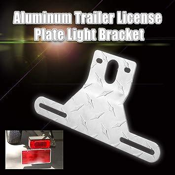 CZC AUTO Aluminum Trailer License Plate Light Bracket