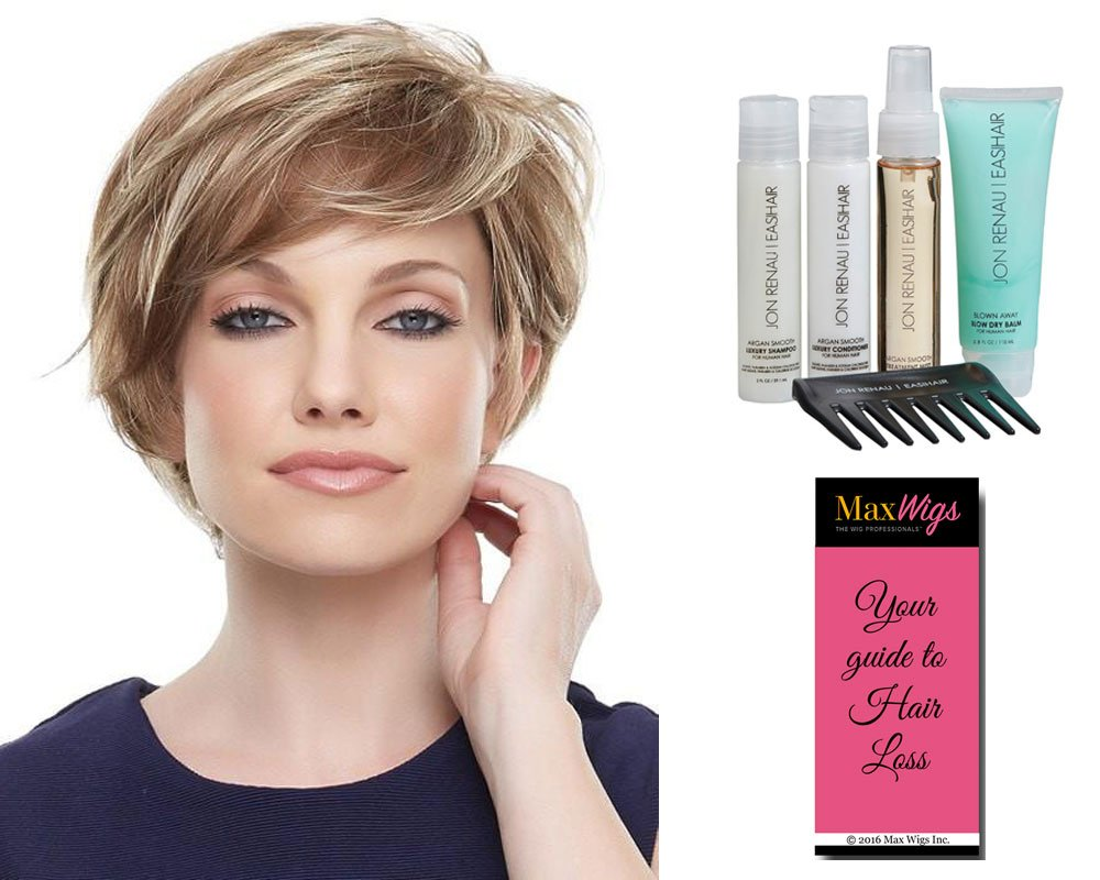 Mariska Wig Petite Cap Color 14/26 PRALINES N' CRÈME - Jon Renau Wigs Short Layered Sheer Lace Front Synthetic Monofilament Top Hand-Tied Cap Bundle with Travel Kit, MaxWigs Hairloss Booklet
