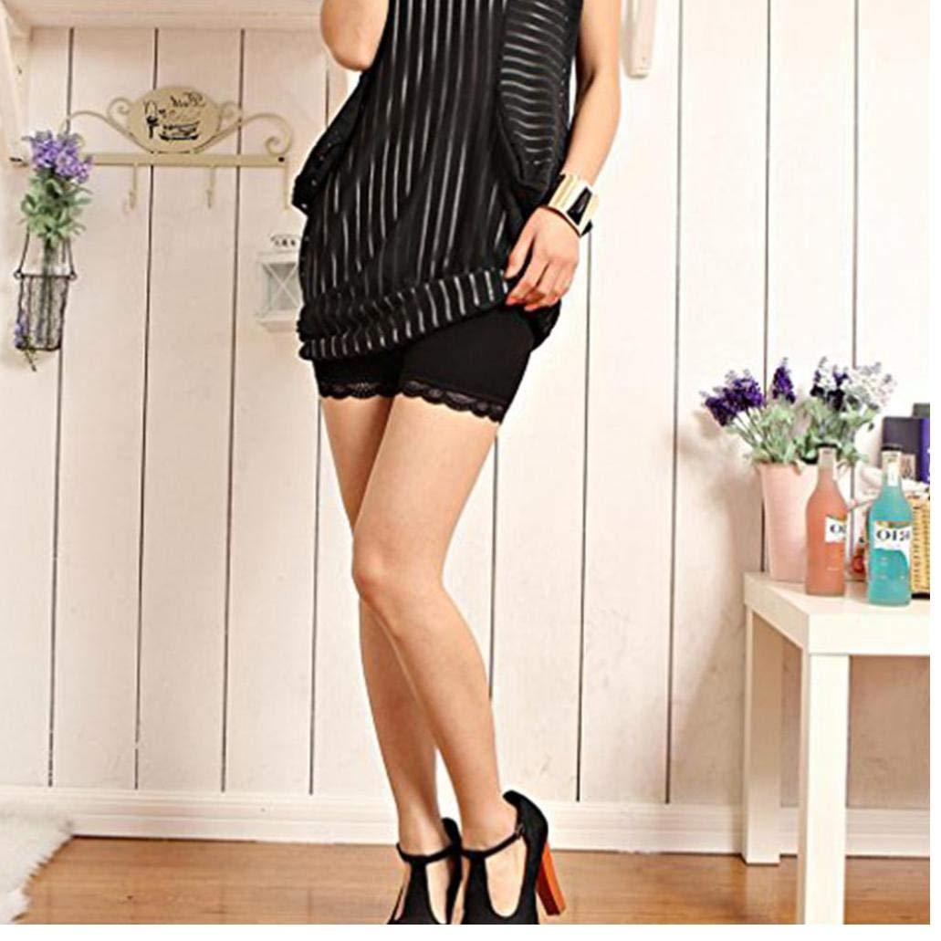 Hotaden 2-Pack Women Stretchy Beleg Shorts Baumwollr/öcke Sicherheits-Hosen Ultra D/ünne Spitze-Ordnungs Unter Shorts Black