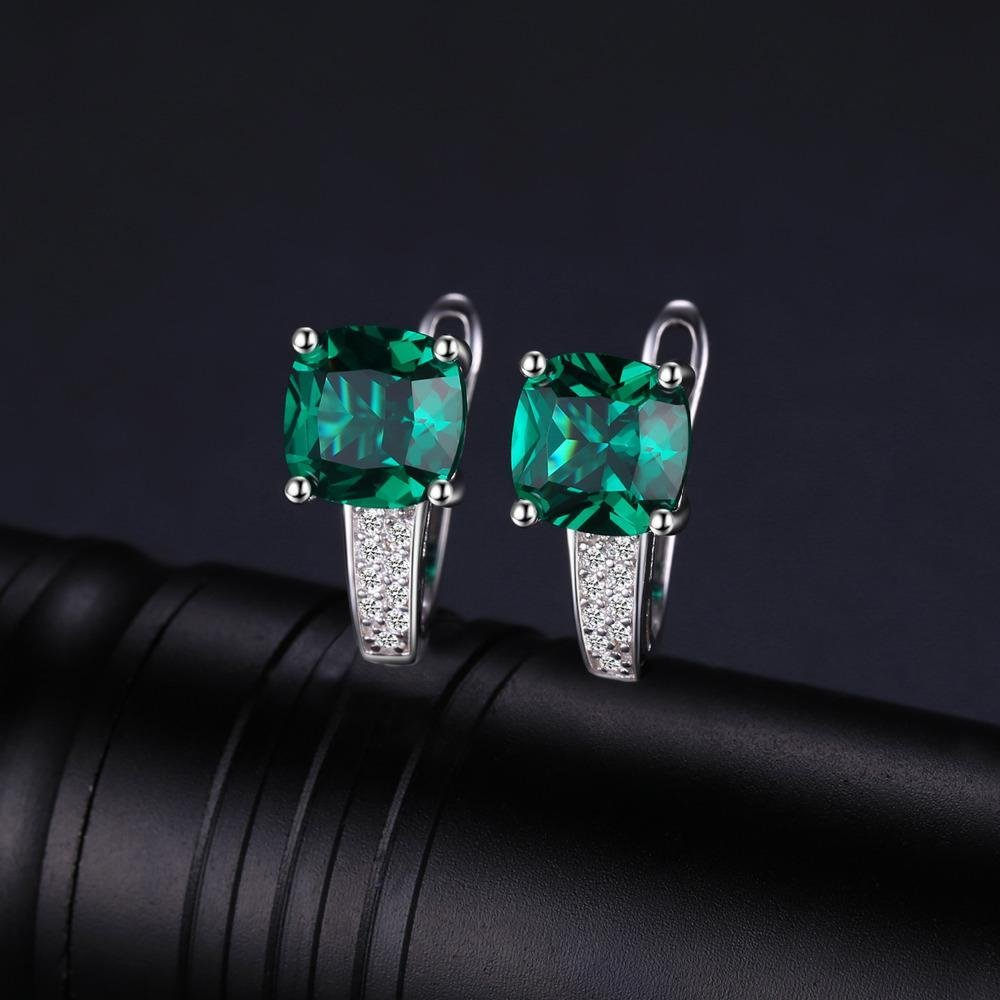 3.1ct Created Green Emerald Clip On Earrings 925 Sterling Silver Jewelry Women Accessories
