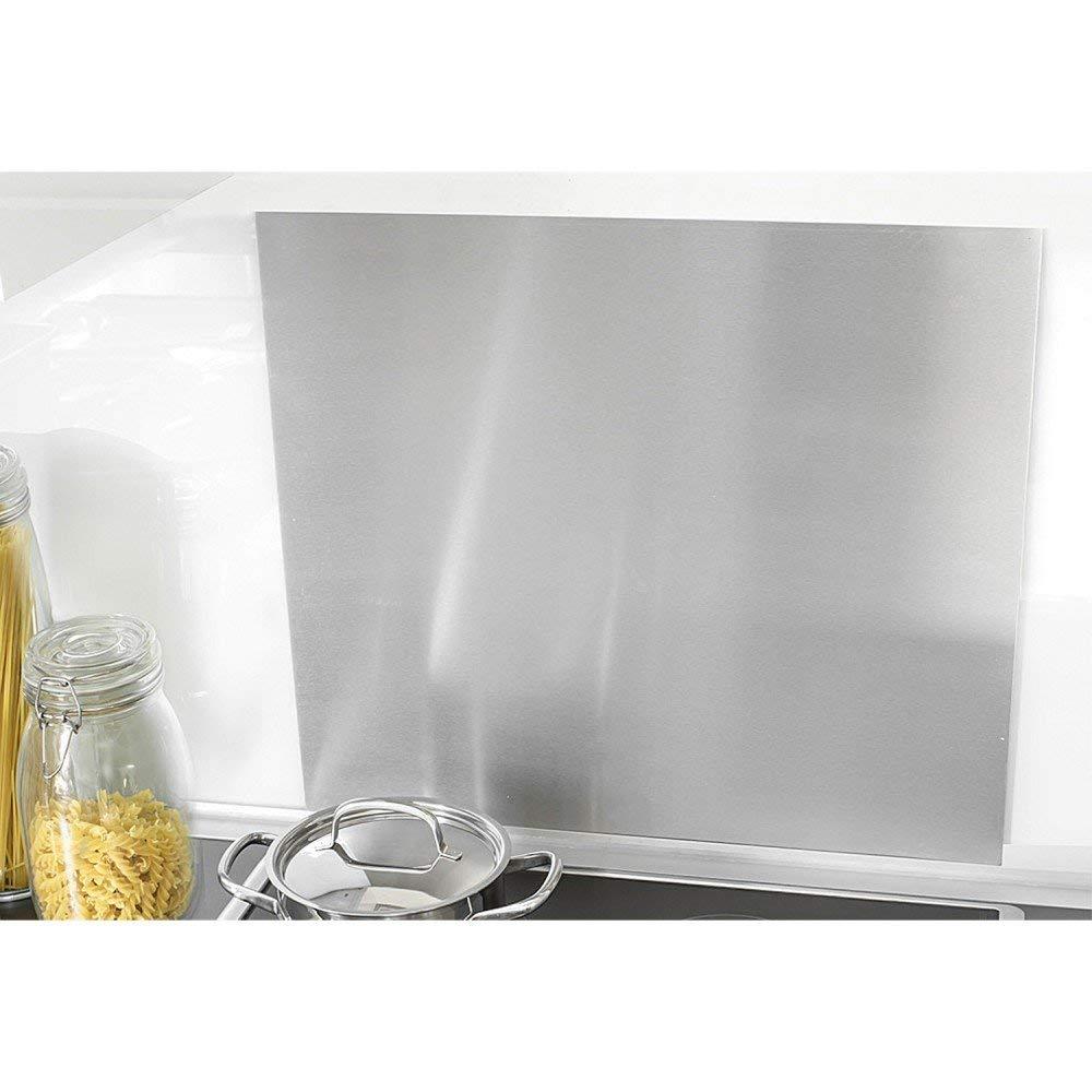 Zeller 27276 Pantalla Anti Salpicaduras para Cocina, Acero Inoxidable, Gris, 56x49x3 cm
