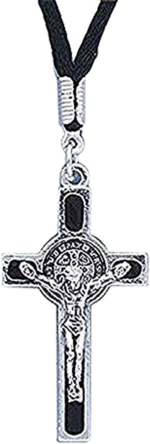 "Catholic & Religious Necklace, Women or Mens, St. Benedict Exorcism Medal Pendant on Cord. Material: Corded Size: 1.75"" H. Lay Catholics Are Not Permitted to Perform Exorcisms but They Can Use the Saint Benedict Medal, Holy Water, the Crucifix, and Other"